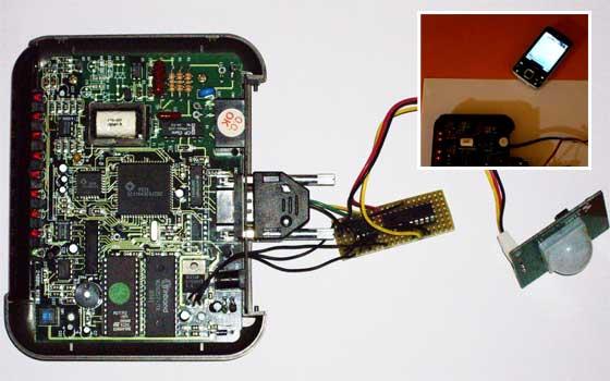 Alarma casera con un pic 16f628 sensor PIR y viejo modem