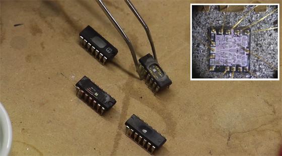 Abriendo circuitos integrados con �cido N�trico y Acetona