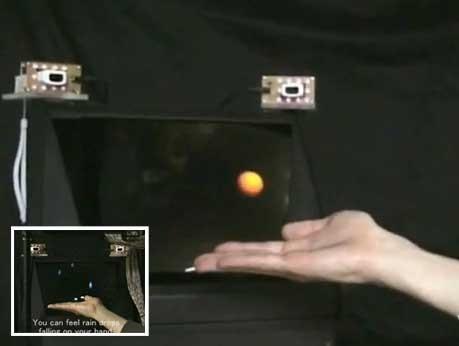 Holograma 3D t�ctil que se puede tocar con la mano