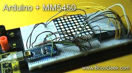 Arduino Nano con MM5450 y Matriz de LED 8x8