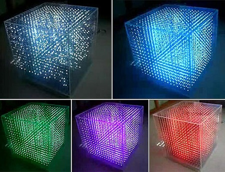 (Video) Cubo 3D con 4096 LEDs RGB