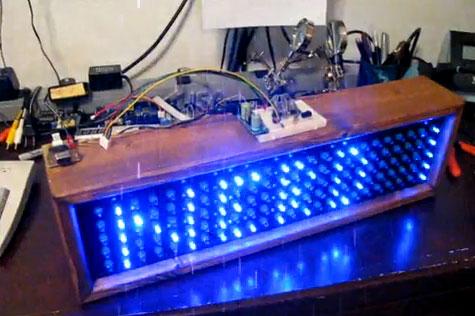 Letrero luminoso casero con array de LED azules