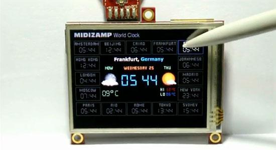 Reloj mundial con pantalla táctil OLED de 4D Systems