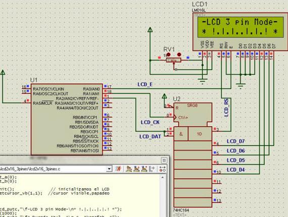 Librería LCD con 3 pines para microcontroladores PIC
