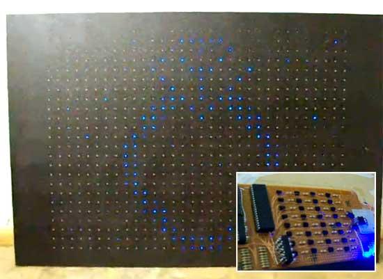Matriz gigante de LED casera de 32x24 con PIC18F4550