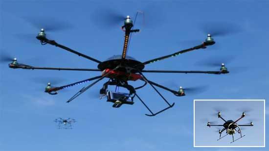 Octocópter con ocho motores y control de estabilidad