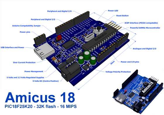 Amicus 18: Desarrollo con PIC al estilo Arduino