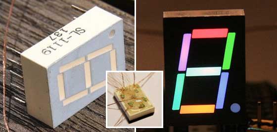 Display de 7 segmentos RGB casero