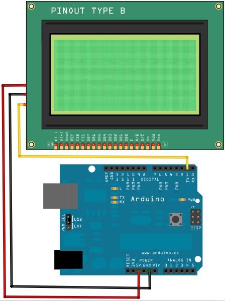Tutorial Arduino: Pantalla Serial LCD 128x64 - BricoGeek com