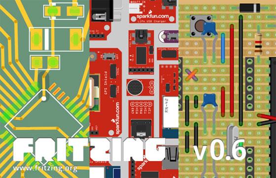 Fritzing 0.6 con soporte SMD y componentes de Sparkfun
