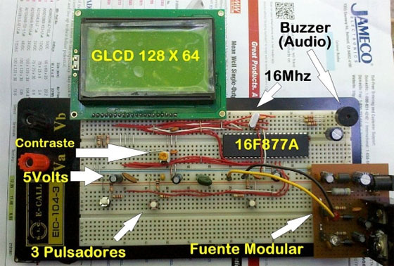 Space Invaders en GLCD con 16F877A
