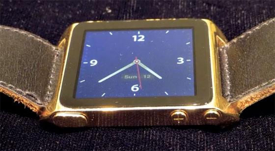 AuPod: iPod nano convertido a reloj de Oro