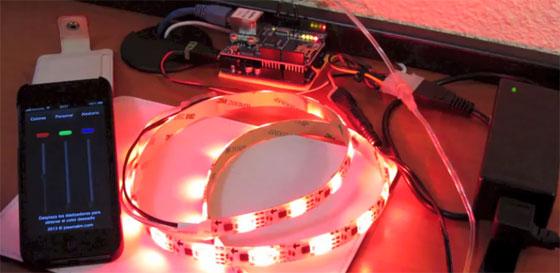 Control de tira de LED RGB con un móvil y Arduino