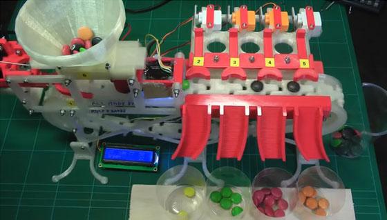Clasificador de lacasitos hecho con Arduino y piezas impresas