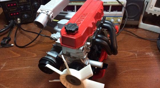 Motor Toyota 22RE con transmisión impreso en 3D