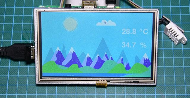 Temperatura y humedad con Raspbery Pi 3 y DHT22 con pantalla táctil