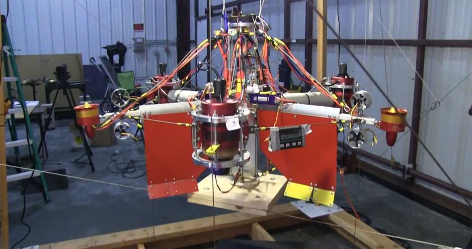 Un dron con 3 turbinas capaz de levantar una persona