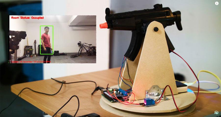 Torre armada automática con visión artifical para Airsoft con Raspberry Pi