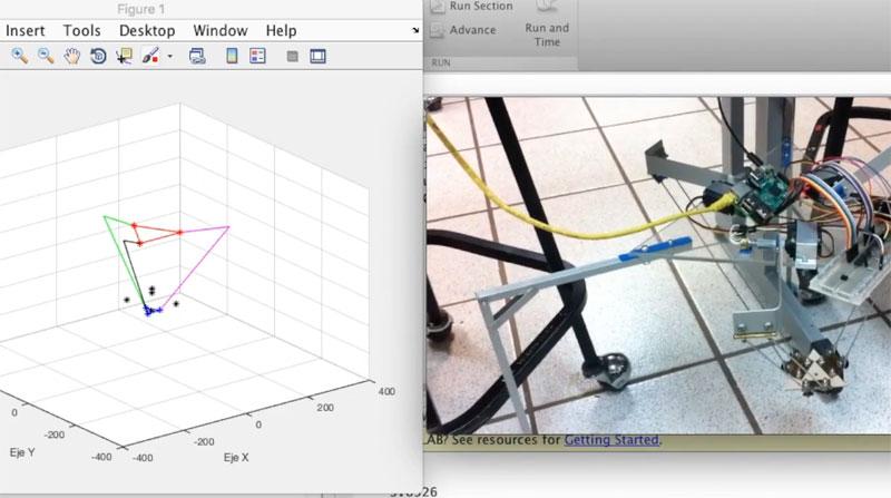 Robot delta con Raspberry Pi y dispositivo iOS (MATLAB y Simulink)