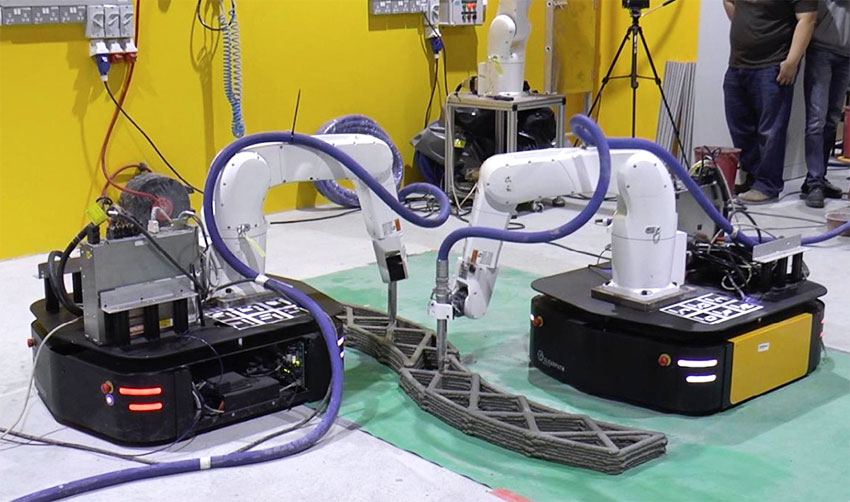 Brazos robots colaborando para imprimir grandes estructuras en 3D