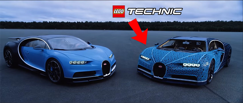 Un Bugatti Chiron hecho con LEGO Technic a tamaño real y que funciona