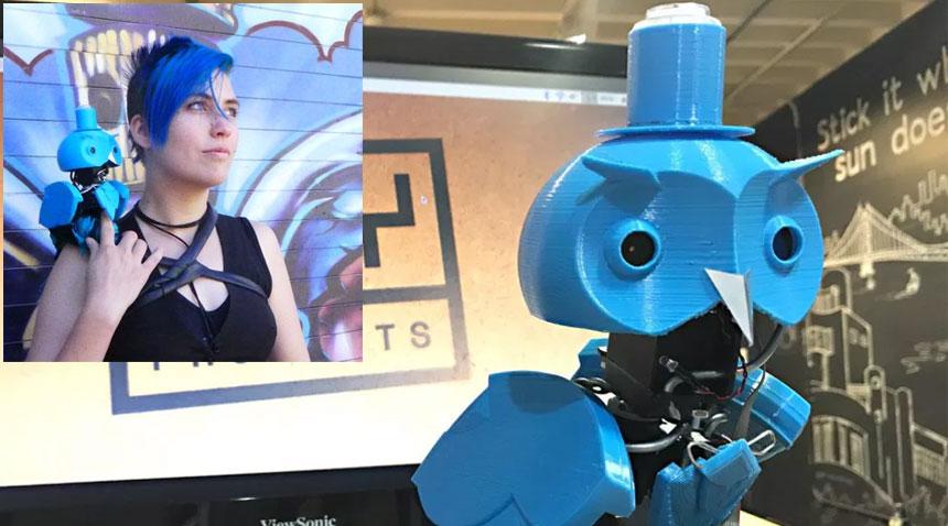 Búho impreso en 3D que usa Google Vision Kit para análisis de imagen