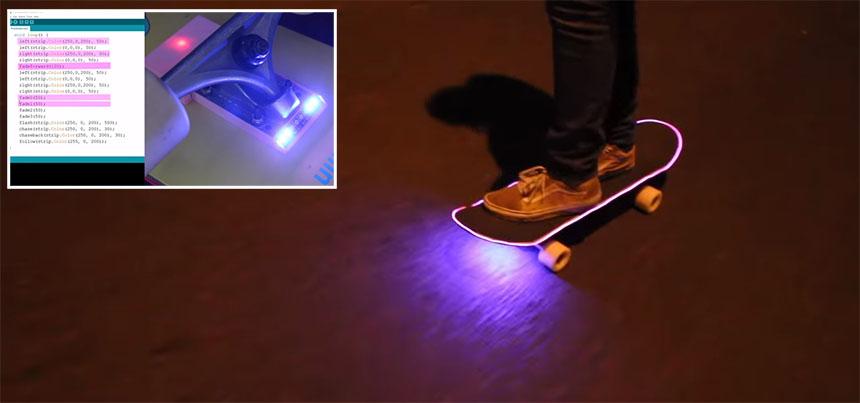 Tabla de Skate personalizada con luces LED y Arduino