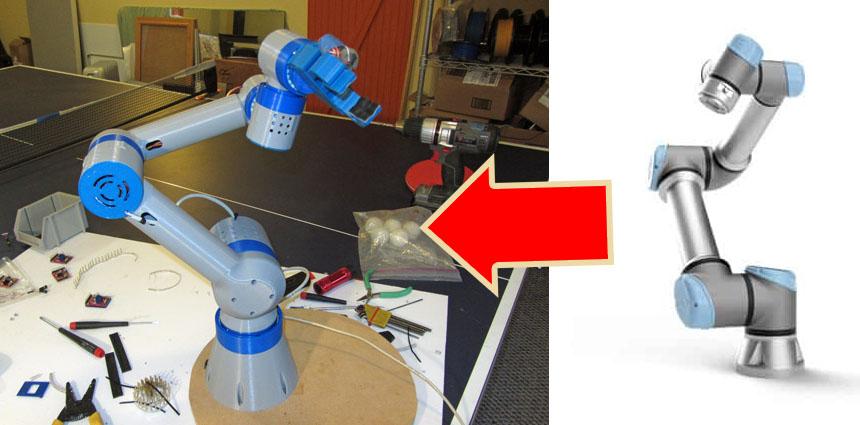 Réplica del brazo robot UR8 impreso en 3D