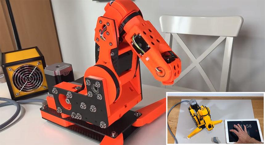 Brazo robot de 6 ejes impreso en 3D y Open Source