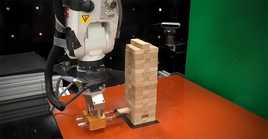 Brazo robot aprende a jugar al Jenga con Machine Learning