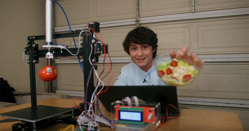Un robot para quitar los tomates de tu ensalada con visión artificial y una impresora 3D