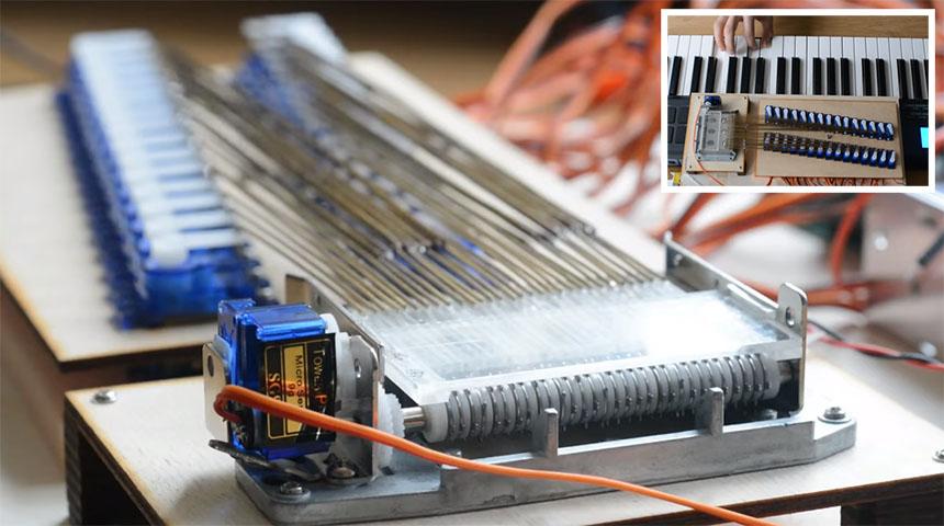Caja de música mecánica convertida a instrumento MIDI con servos
