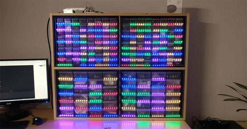 Organizador de componentes electrónicos controlado por voz con Google Home