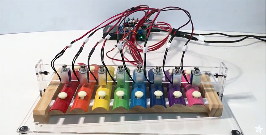 Xilófono controlado con solenoides y Arduino