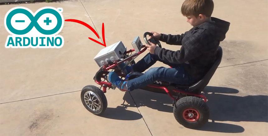 Conversión de Go-kart a pedales para niños a eléctrico controlado con Arduino