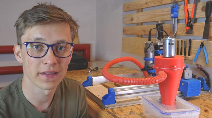 Aspirador ciclónico casero para tu CNC impreso en 3D
