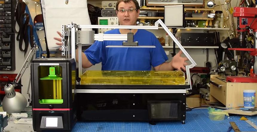 Impresora de resina experimental con Raspberry Pi y TV de 4K