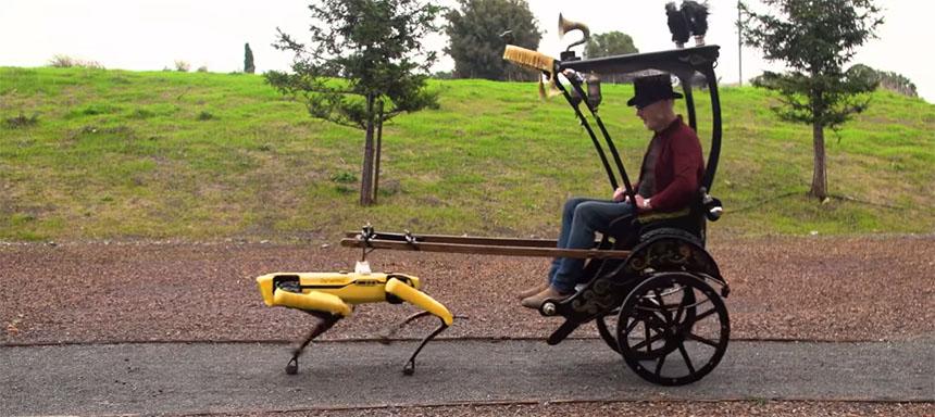 Adam Savage usa el robot Spot para tirar de un carruaje