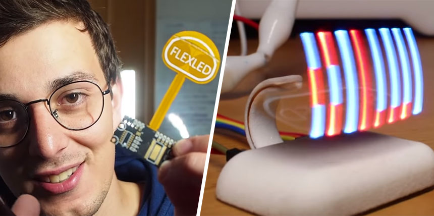 Un genial display LED POV con PCB flexible