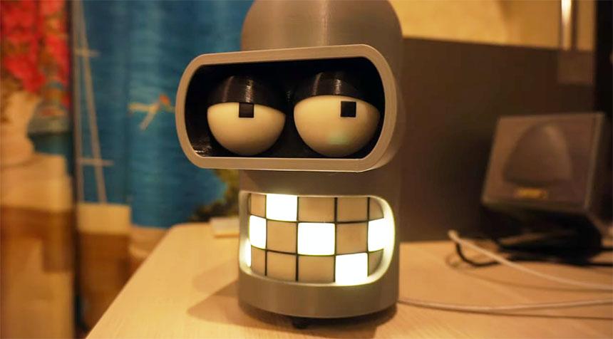 Asistente personal Robot Bender con Raspberry Pi impreso en 3D