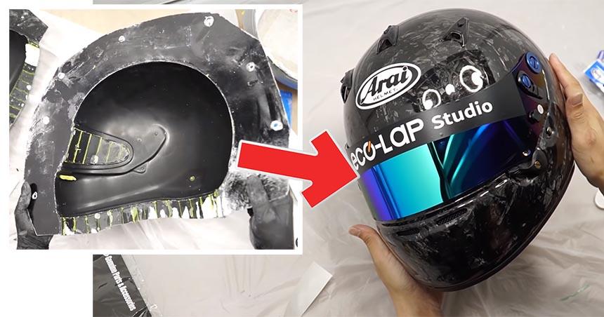 Cómo hacer un casco de fibra de carbono forjado casero para simRacing