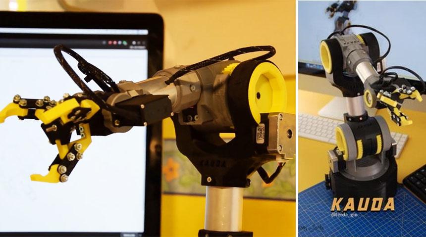 Brazo Robot KAUDA de 5 ejes que puedes imprimir en 3D