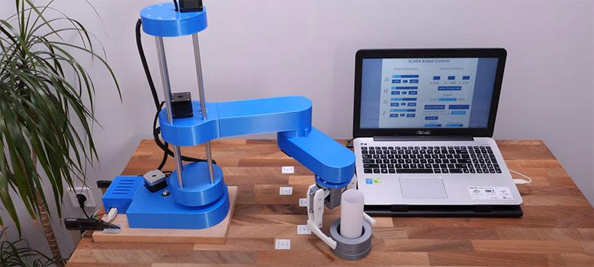 Brazo robot SCARA que puedes imprimir en 3D