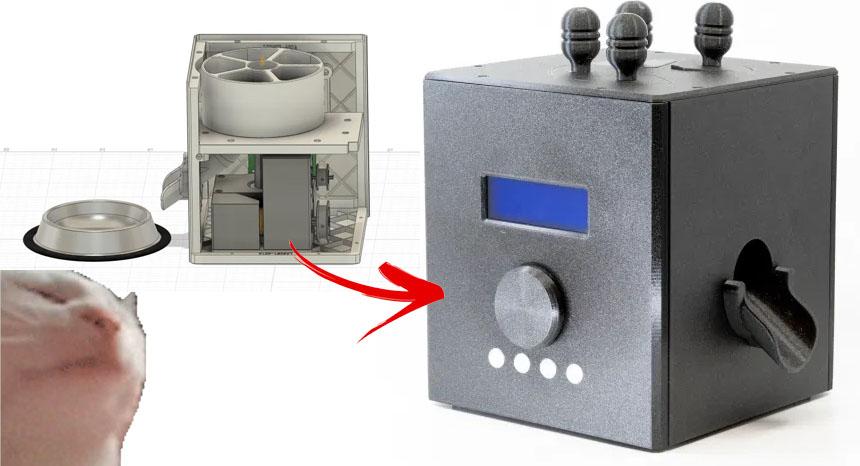 Alimentador automático para gatos con Arduino impreso en 3D
