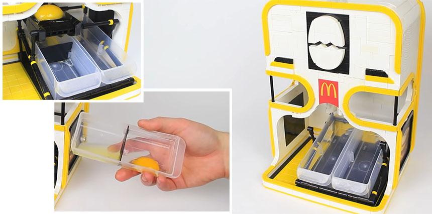 Máquina para separar la clara de la yema del huevo hecha con LEGO