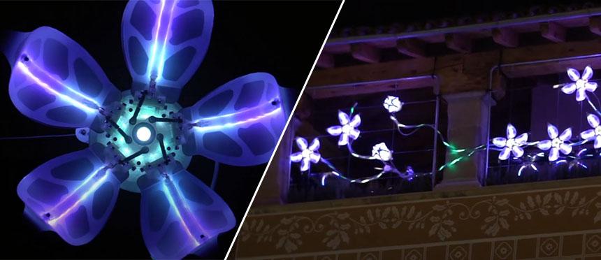 Flor mecatrónica con movimiento orgánico y luces LED
