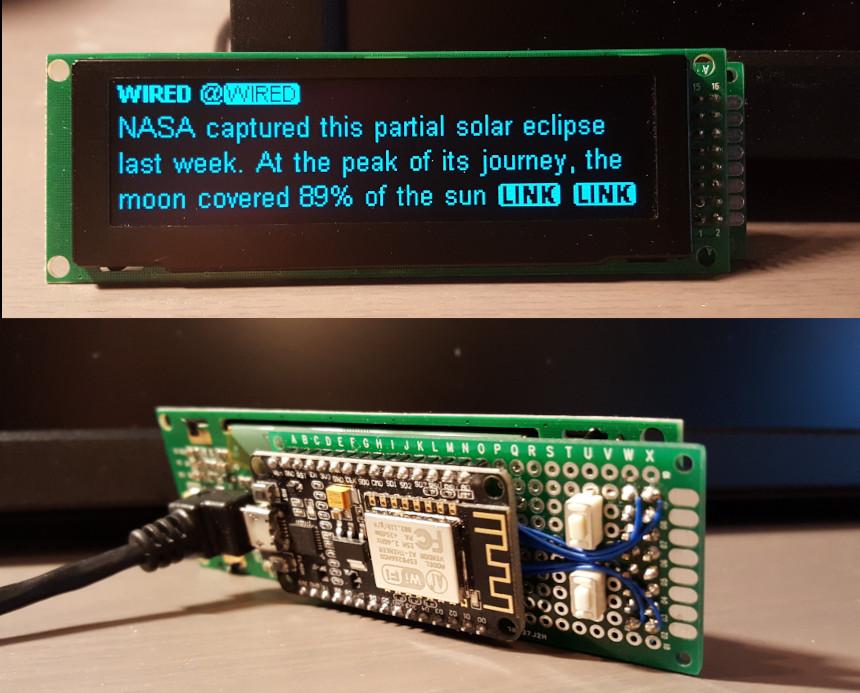 Una pantalla OLED para leer mensajes de Twitter con ESP8266