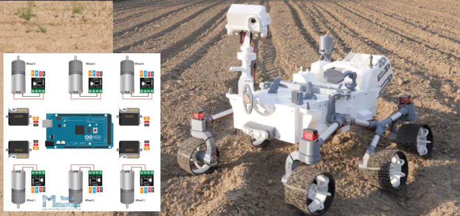 Réplica del Mars Perseverance Rover impresa en 3D que funciona con Arduino