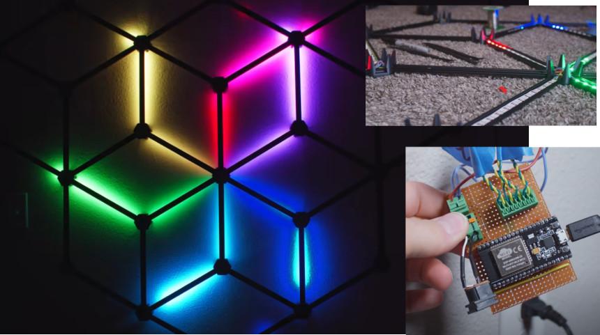 Hexágono de pared con LED RGB que mide tu pulso con ESP32