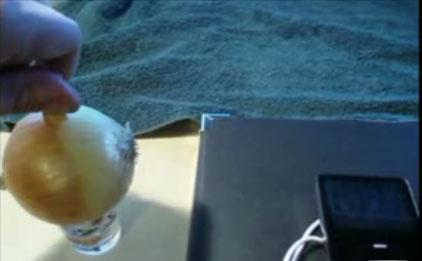 (Video) Cargador de iPod con una cebolla